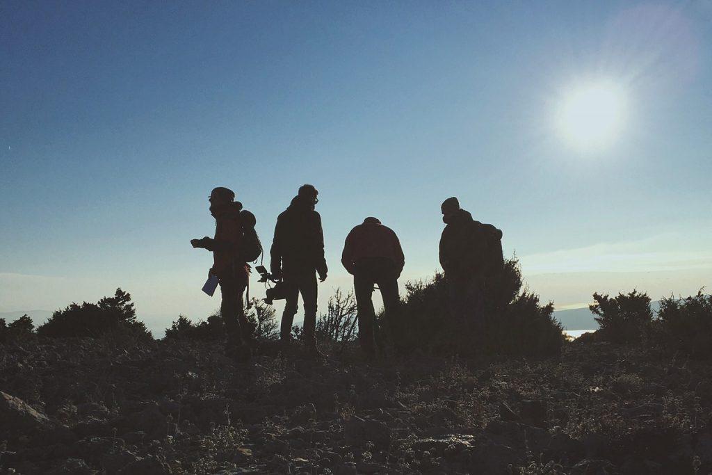 colline, groupe de personnes, appareil photo