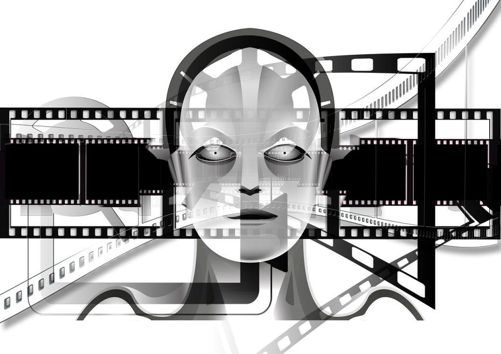 démonstration, projecteur, noir et blanc