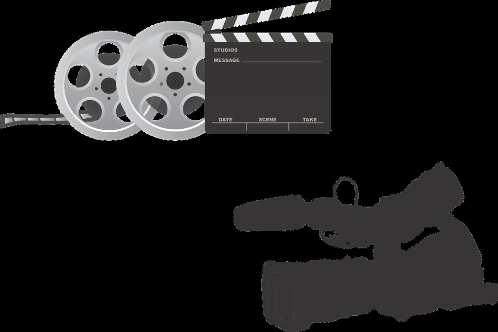 équipement film, appareil photo, clapperboard