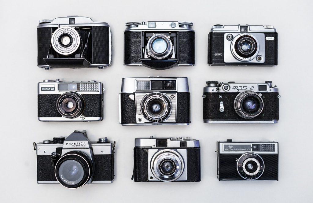 vieux, rétro, caméras